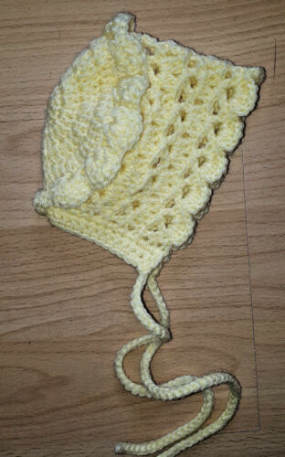 Handmade Hand Crocheted Baby Girl Filet Bonnet//Hat  acrylic  various sizes//cols.