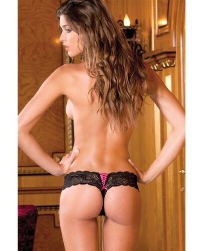 Rene Rofe Crotchless Lace Thong w//Lace Up Back Black intimate apparel wear