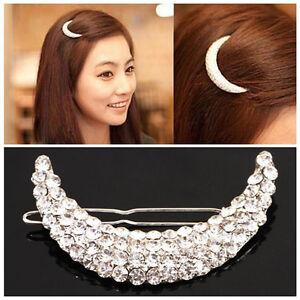 Damen-Kristall-Strass-Mond-Haarnadel-Haarspange-Haarklammer-Retro