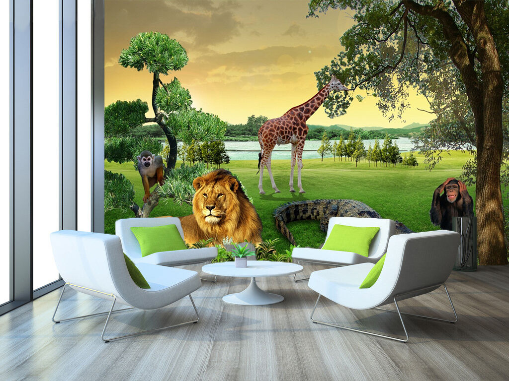 3D Grass, animals 989 Wall Paper Print Wall Decal Deco Indoor Wall Murals