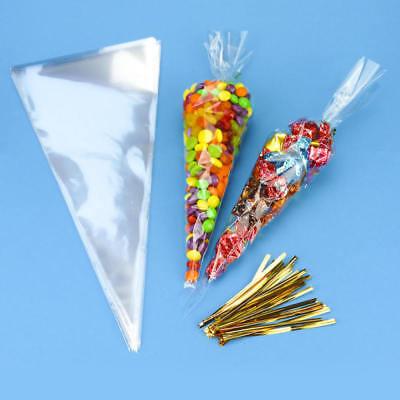 50 Bleu Cellophane Cône Sacs Twist Ties Grande Taille Fête Sweet CELLO Candy