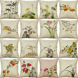 Chinese-Style-Painting-Pillow-Case-Cotton-Linen-Cushion-Cover-Throw-Home-Decor
