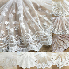 Floral Embroidery Cotton Lace Trim Ribbon Fabric Mesh Craft Sewing Applique