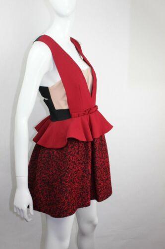 Donna Mini Gonna Nuovo Abito Profonda V Con Three Rosso Tweed Floor Taglia 10 5w6WU