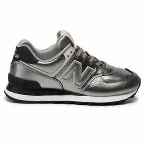 New Balance wl574wne scarpa sport sneaker metallic grigio silver