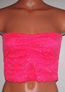 d760bb16d8 Victoria s Secret PINK BLING LACE CROPPED Floral BANDEAU BRALETTE ...