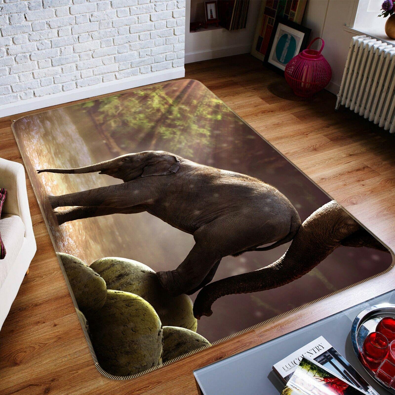 3d elefante río a041 animal juego antideslizante maletero elegante foto alfombra Wendy