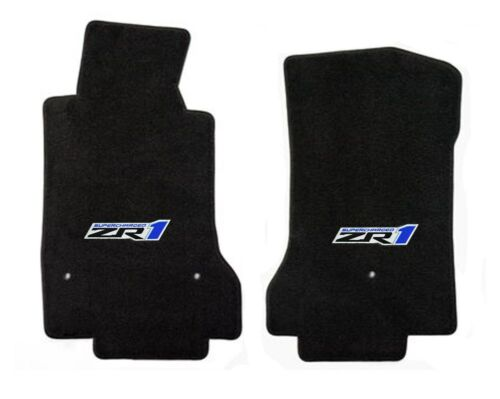 Black Front Floor mats 2008-2012 C6 Corvette Embroidered ZR1 Pair NEW