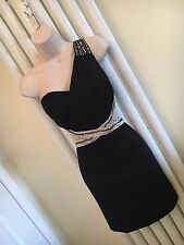 LITTLE MISTRESS Stunning Black Chiffon Gold Sequin Dress Size 10 New with tags