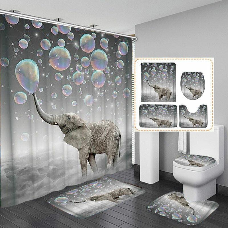 4pcs blue Elephant Bathroom Shower Curtain Toilet Waterproof Fabric Cover .#