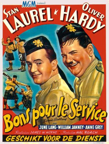 A3//A4 SIZE Vintage Laurel and Hardy Bonnie Scotland 1935 Film Cinema Poster