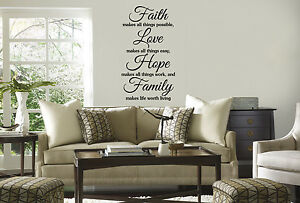 Faith Hope Love Vinyl Wall Home Decor Decal Quote Inspirational Adorable Cute