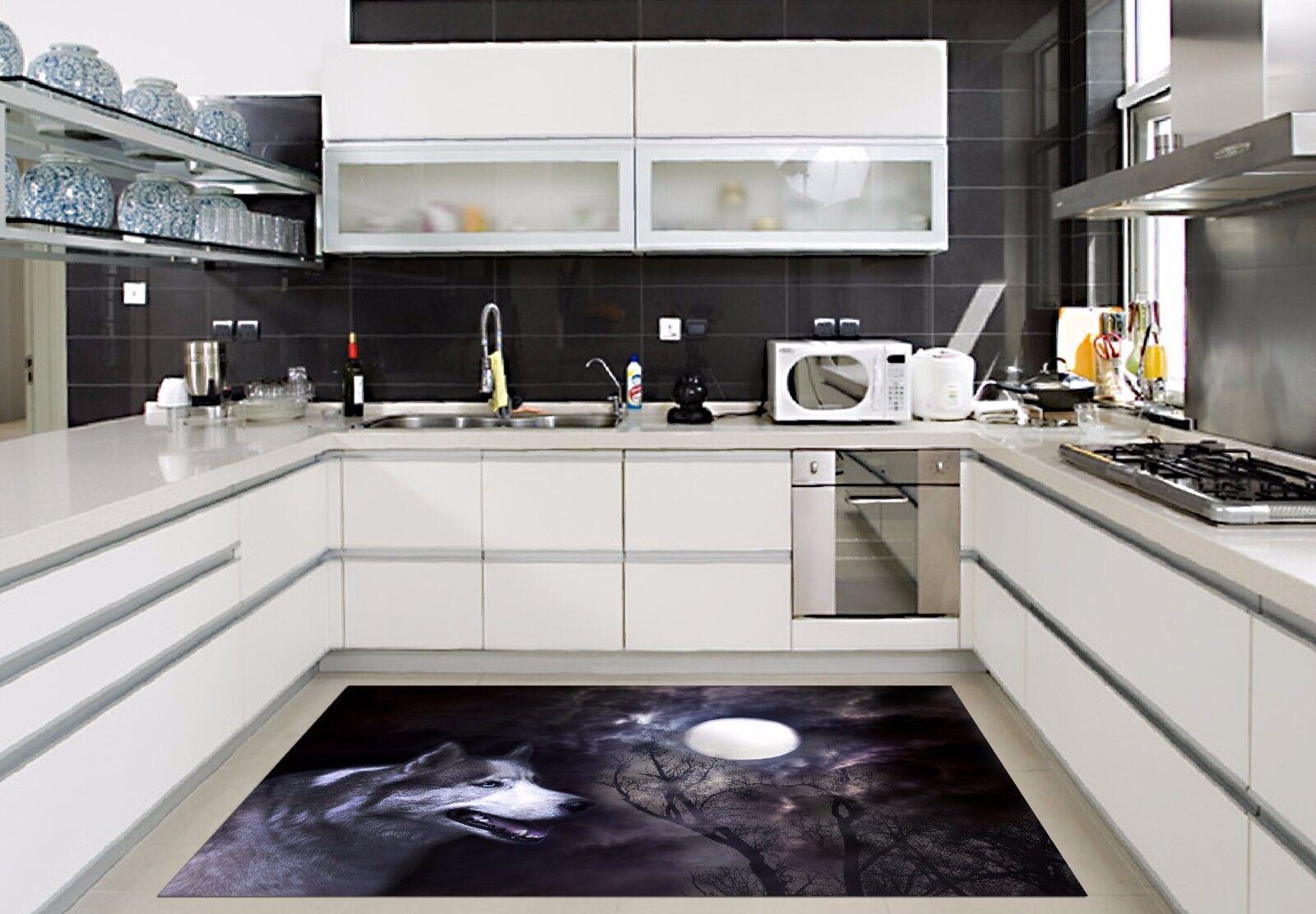 3D Moon And Wolf Kitchen Mat Floor Murals Wall Print Wall Deco AJ WALLPAPER AU