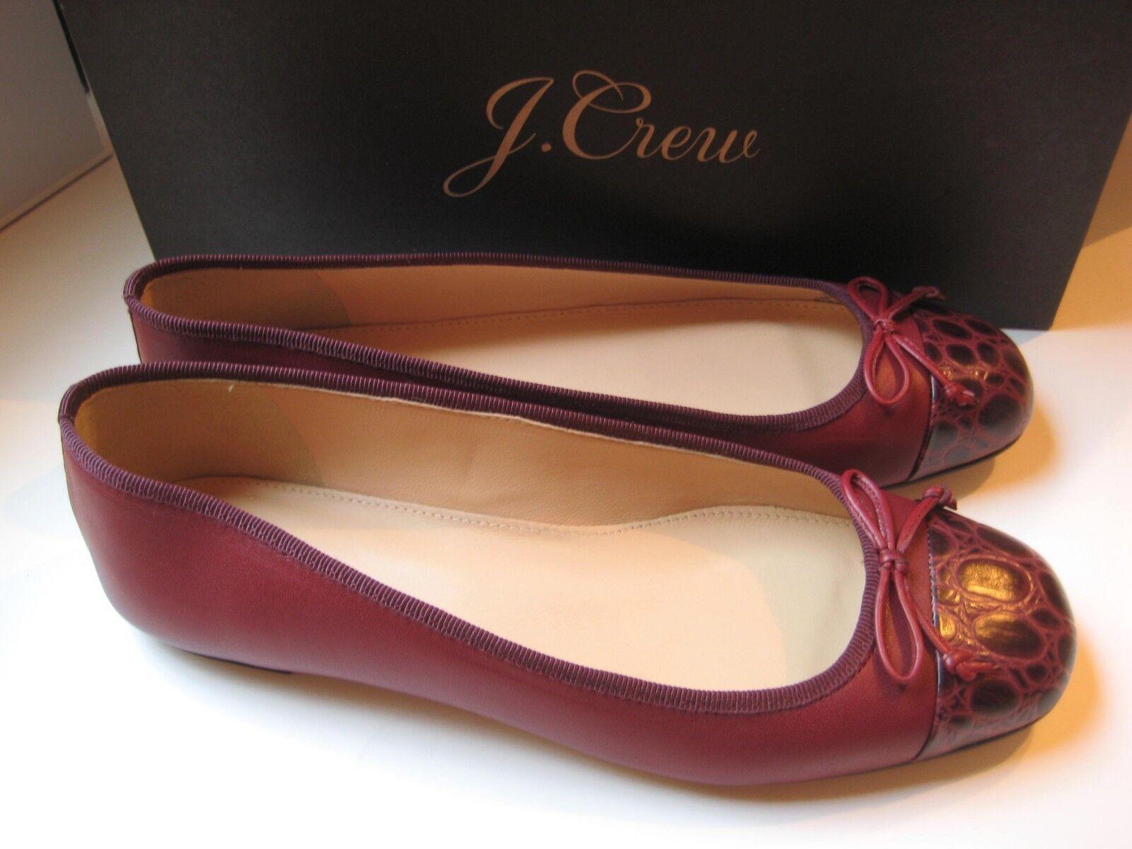 138 Nuevo Nuevo Nuevo en Caja  J Crew Lily Puntera Ballet Zapatos sin Taco   vivos Borgoña Talla 7  forma única