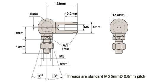 8mm bola y socket conjunto M5 Hilo Mano Izquierda Weber Carburador Vínculo-GL