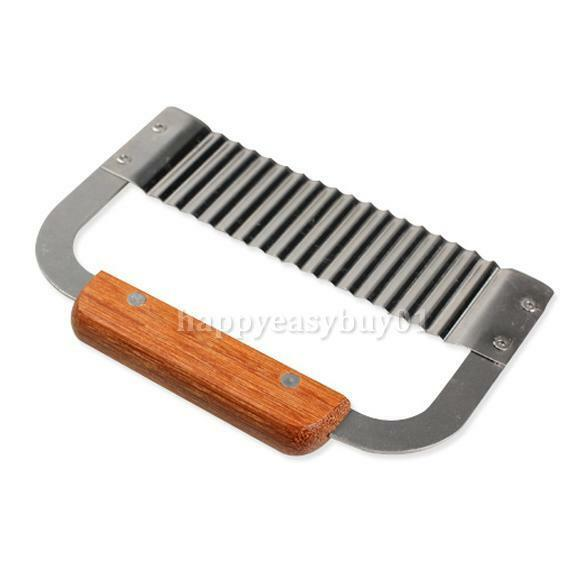 Soap Wax Vegetable Cutter Wavy Making tools Stainless Wood Handle Crinkle Slicer