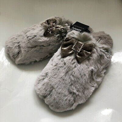 Womens Bedroom Athletics Kimberly Charcoal Fluffy Glam Mule Slippers Size