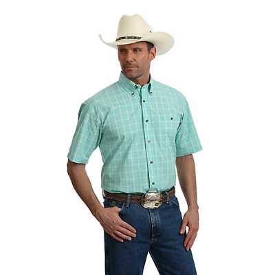 Wrangler Men's George Strait Light Green & White Plaid Shirt Mgsg613 Clothing, Shoes & Accessories