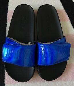 1e9ba2fcc192 Victoria s Secret Pink Vivid Blue Black Crossover Comfort Slides - M ...