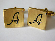 Vintage enamel cufflinks initial letter A curved faces gold-tone r