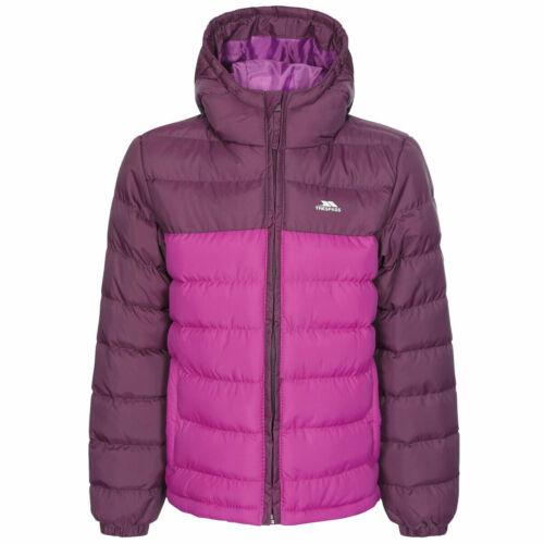 Unisex Quilted Trespass Oskar Boys Girls Padded School Jacket With Hood For Kids