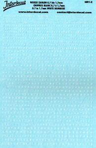 decal 1/43 NUMERI BIANCHI VARI ALTEZZA DA 0,7 A 1,7mm INTERDECAL NR1-2