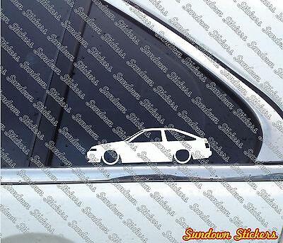 2x Lowered car outline stickers - for Toyota Sprinter Trueno GT Apex AE86 JDM