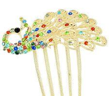 Beautiful Colourful Full of Rhinestones Peacock Big Hair Comb Accessories HA89