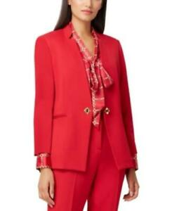 MSRP $139 Tahari Asl Petite Notched-Collar Single-Button Blazer Red Size 10 P