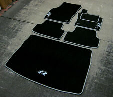 Car Mats in Black/Grey to fit VW Golf Mk7 (2013 on) + Boot Mat + R-Line Logos