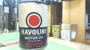Vintage-HAVOLINE-INSULATED-Motor-Oil-Can-INDIAN-REFINING-CO-USA-QUART-SIZE