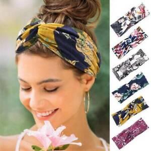 Ladies-twist-knot-pattern-headband-elastic-head-wrap-turban-hair-band-flowers