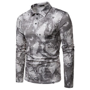 NEW Men/'s T-shirt newspaper printed Summer short sleeves Top//tee
