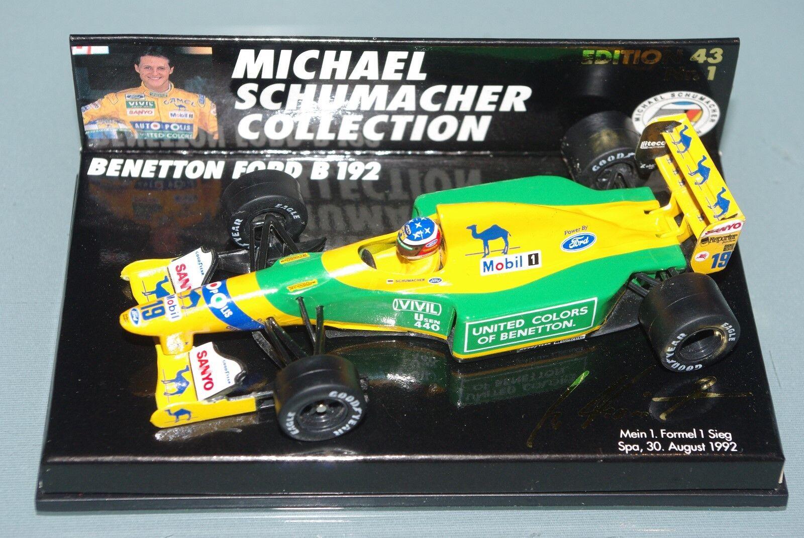 Minichamps F1 1 43 Benetton Ford B192-Schumacher 1st Win Spa 1993 MSC