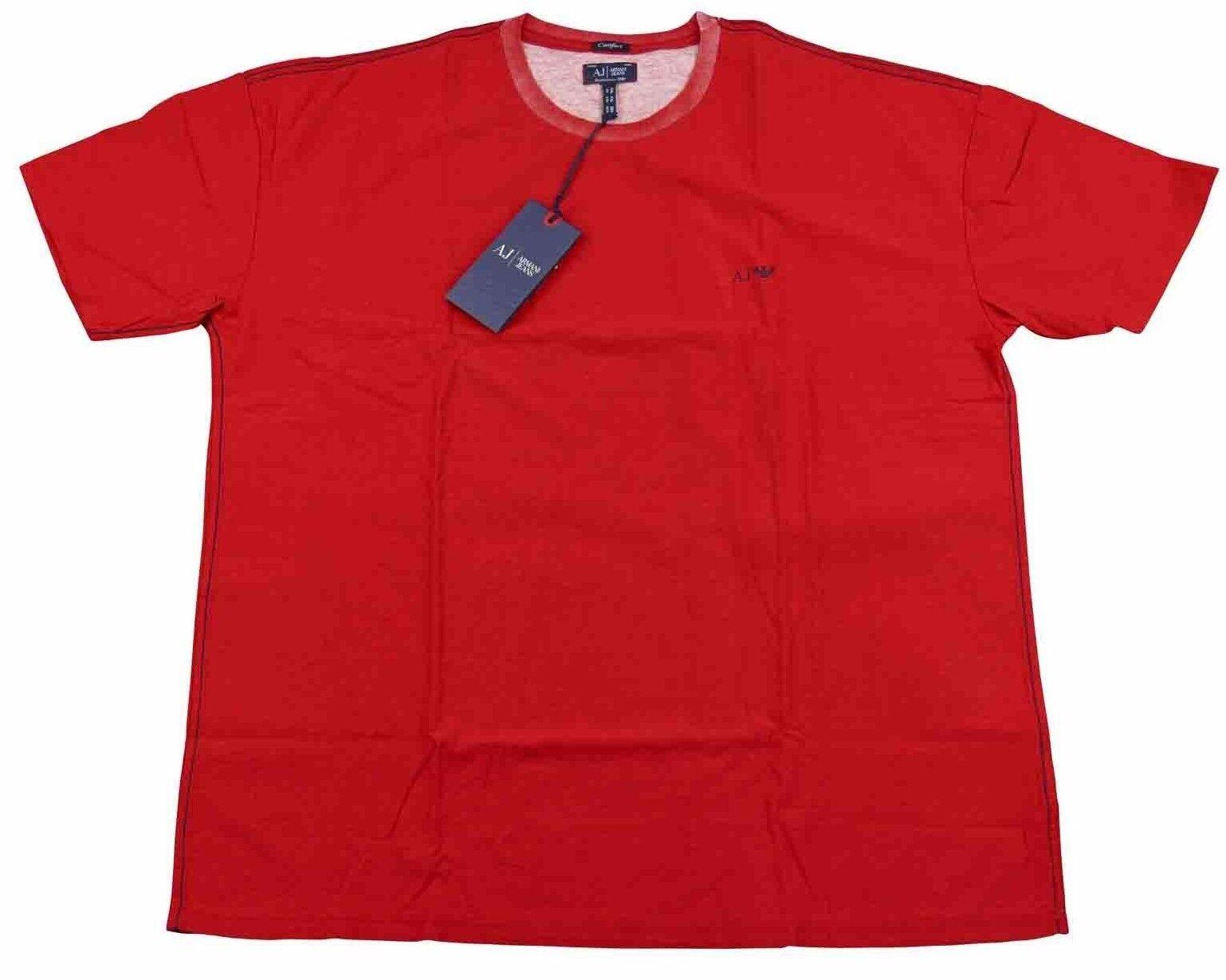 Armani Jeans Mens Plain Red Small AJ Logo H S T-shirt - Sz XXL & XXXL BNWT