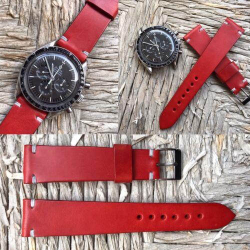 20 mm RED Leather Strap Leder armband bracelet cinturino for vintage yema gmt