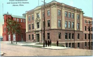 Akron-Ohio-Police-Headquarters-and-Central-Fire-Station-1910-Postcard