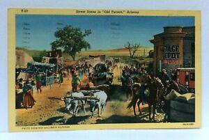 Tucson-AZ-Street-Scene-1859-Reconstruction-034-Arizona-034-Film-Of-Old-Tucson-Postcard