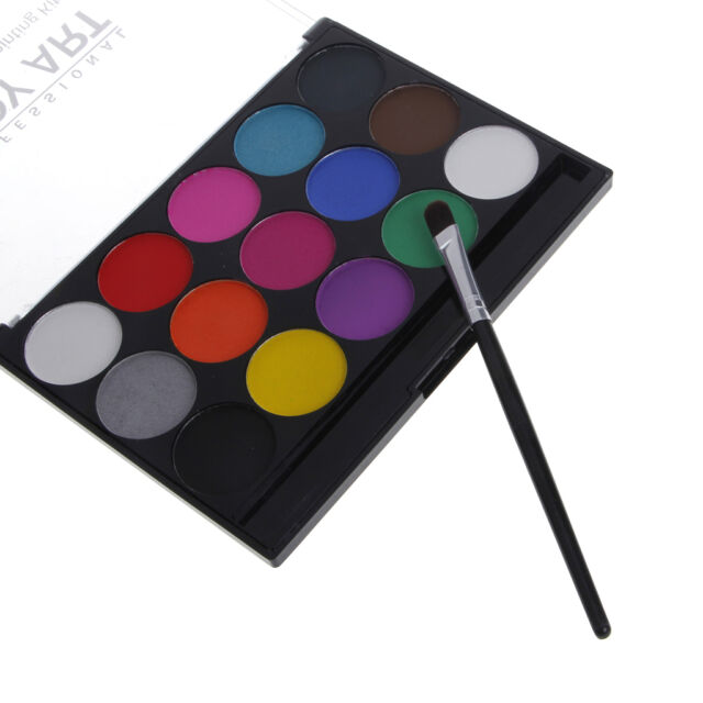 15 colors body face paint kit water based painting with brush makeup