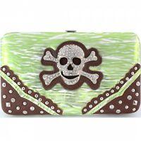 Skull & Crossbones Wallet With Checkbook Cover Metallic Green & White