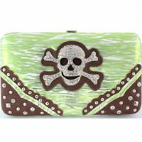 Skull & Crossbones Wallet With Checkbook Cover Metallic Green & White