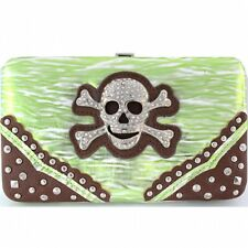 Skull & Crossbones Wallet with Checkbook Cover New Metallic Green & White