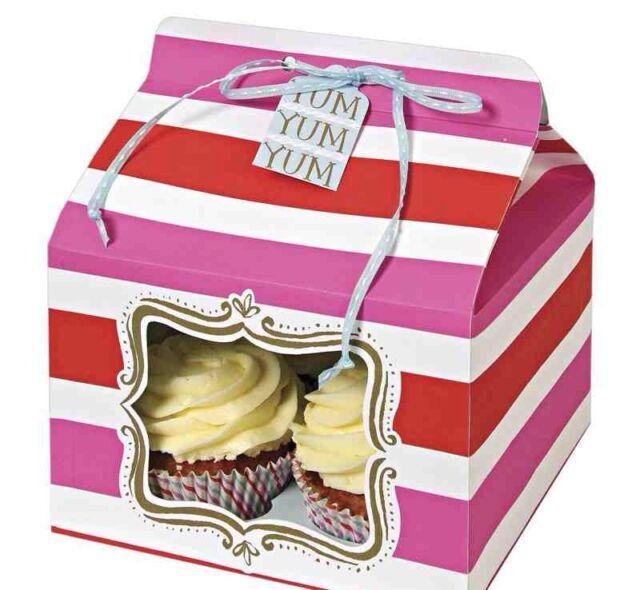Meri Meri Red/Pink Stripe Large Cake Gift Box - Holds 4 Cupcakes - Pack Of 3