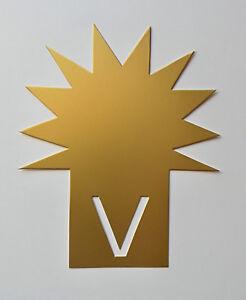 50 Stecksterne 11,3 X 14 Cm De Goldfarbigem Carton Étiquette De Prix Vitrine-afficher Le Titre D'origine