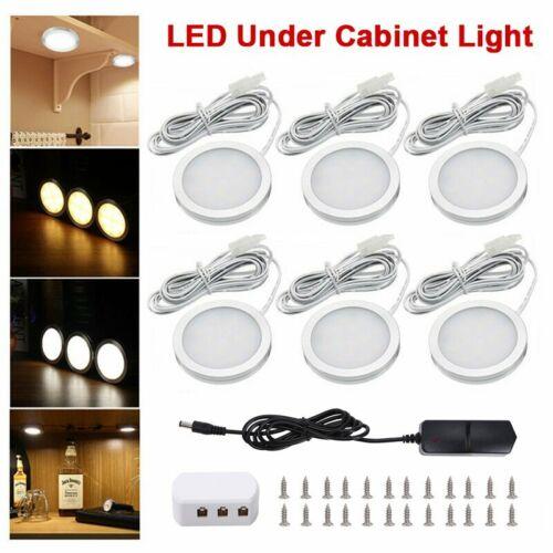 3//6PCs LED Under Cabinet Lights Recessed Kitchen Cupboard Spotlights 12V UK Plug
