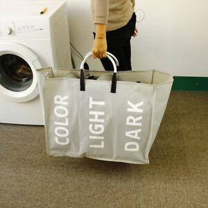 3-Sections-Laundry-Bag-Basket-Canvas-Color-White-Dark-Storage-Washing-Bin-vXAmo