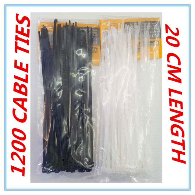 1200 X BLACK & WHITE HEAVY DUTY CABLE TIES - 20 CM - HOME GARDEN OFFICE - AP