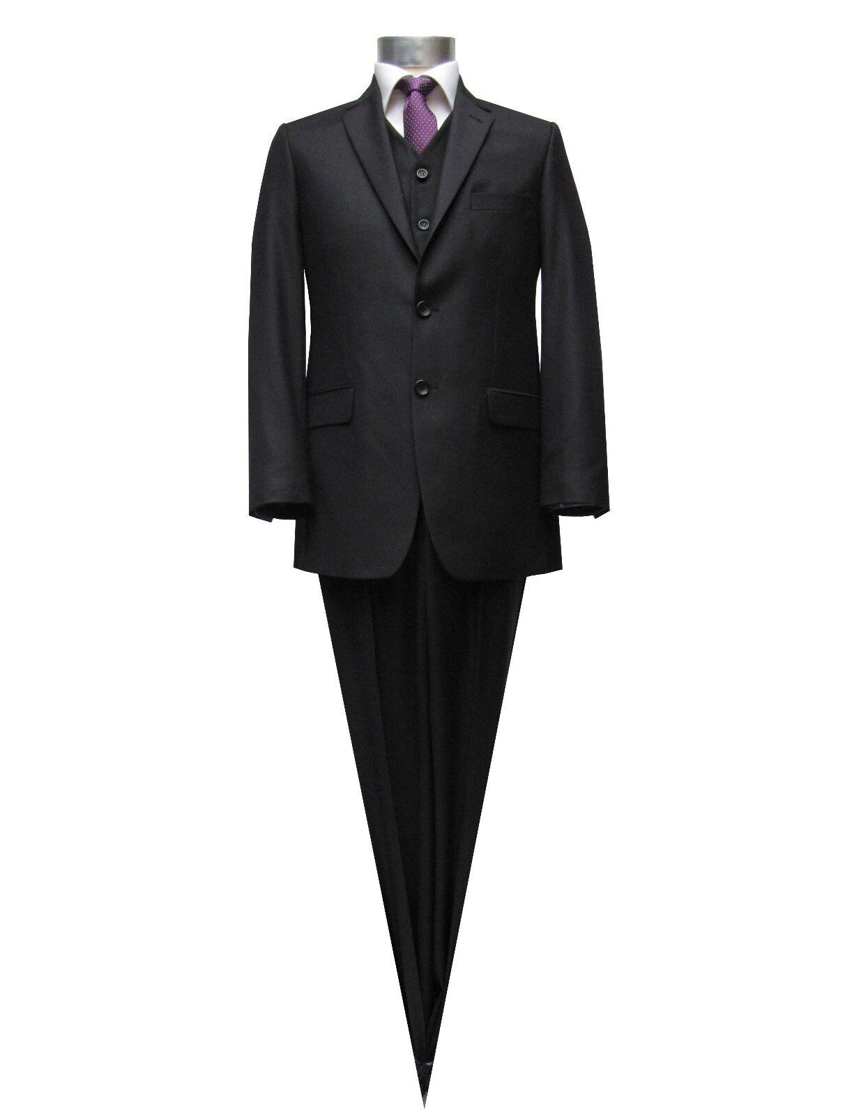 Muga Herren Anzug+Weste Gr.44 Schwarz