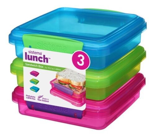 Sistema Sandwich-Box 3er-Set pink+grün+blau