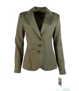 Merona-Womens-Blazer-6-Herringbone-Pinstripe-Suit-Jacket-Brown-Three-Button-New